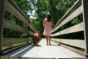 my sis and I crossing the bridge!